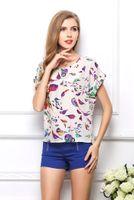女性の夏の安いシフォンブラウストップの大きいサイズの半袖プリントTシャツのためのバットウィングルースティーシャツ