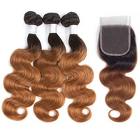 Ombre Brazilian Body Wave Human Hair Bundles With 4X4 Lace C...