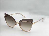 Womens Nightbird-One Cat Eye Sunglasses Gold / Brown 66mm Sonnenbrille Rimless Cateye Солнцезащитные очки Очки Новые с коробкой