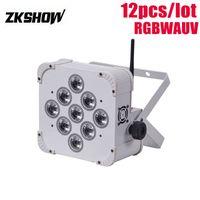 80% İndirim 9 * 18 W RGBAWUV Kablosuz Pil Düz LED Par Işık 180 W DMX DJ Disko Parti Düğün Gösterisi Sahne Projektör 230 V 110 V Ücretsiz Kargo