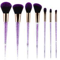 7Pcs / set Rhinestone Glitter Crystal Brushes Set Diamond Pro Pennelli Evidenziatore Pennello Fard Make up Pennello Trucco Sirena
