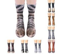 Unisex 3D Animal Pata Pés Impressão Adulto Crianças Meijas Homens Mulheres Big Kids Simulação Digital Pé Do Animal Print Mid-bezerro Sock Sock Socks