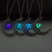 Сердце луны Ожерелье Noctilucence Glow in Dark Эфирное масло Диффузор Ожерелье Медальоны Цепочки Украшения для женщин Перевозка груза падения