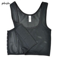 PHSH Lesbiche Tomboy Short Mesh Fabrice Breathable Chest Binder 3 Fibbie Corsetto Trans Cosplay Breast Binder Vest per l'estate