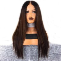 Cheap Natural Straight 1b 33# Long Ombre Brown Synthetic Lac...
