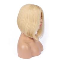 613 peruca de cabelo humano Bob Wigs completa Lace loira perucas podem ser tingidos Short Cut Bob Natural reta loira perucas completas do laço