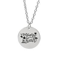 12 unids / lote MAMA BEAR Grabado Disco Colgante Charms Necklace flecha amor collar de La Madre Día de Regalo de La Joyería