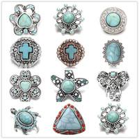 Requintado Inlay Turquesa Recolher Botões de Pressão 18mm de Metal Flor Botão Decorativo encantos para DIY Snap Resultados Da Jóia