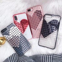 Glitter 3D Love Heart Phone Case For iPhone 7 Plus Transpare...