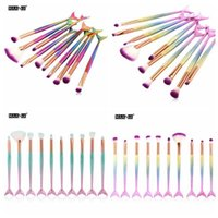 10pcs set Mermaid Makeup Brushes Set Foundation Blending Pow...