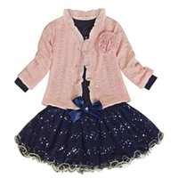 Bebek Kız Ceket + T-shirt + Etek Elbise Tutu Parti Set Takım Elbise Pembe Elbise Moda