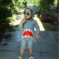 Cartoon Baby Boys swimsuit Fashion New shark pattern hooded ...