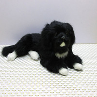 Dorimytrader cute mini lifelike animal black dog plush toy r...