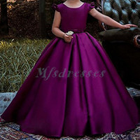 New 2018 Purple Princess Satin Flower Girl Dresses with Bow ...