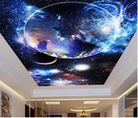 Özel 3D Tavan Fotoğraf Duvar Yıldızlı Gökyüzü 3 D Duvar Kağıdı Duvarlar Için Oturma Odası Yatak Odası 3D Tavan Backdrop Modern Duvar Kağıdı