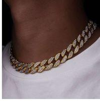 Karopel Iced Out Bling strass Finitura dorata Miami Cuban Collana a catena a maglia Collana da uomo Hip Hop 16,18, 20,24 pollici