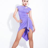 Sahne Giyim Swxy Latin Dans Yuvarlak Boyun Elbise Kostüm Düzensiz Etek Performans Giyim Tango veya Balo Salonu Uygulama DWY891