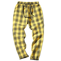 Drop Shipping Autumn Men Plaid Pants Casual Trousers Man Cot...
