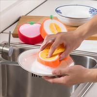 Magie vaisselle serviette forme de fruits épaissir microfibre éponge chiffon nettoyage vaisselle chiffons tampons à récurer accessoires de cuisine