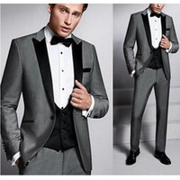 Cheap Three Pieces Grey Groom Tuxedos Black Notched Lapel Gr...