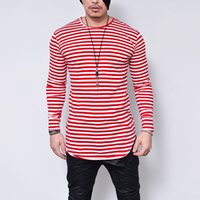 Designer Mens T Shirts Striped Long Sleeve High Elastic 2018...