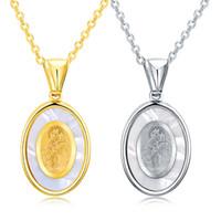 Mère coquillages en acier inoxydable Déesse catholique religieuse bijoux la Madone Vierge Marie Sainte mère de Dieu pendentif collier pour les femmes