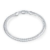 Corrente lateral de 5m - Pulseira banhada a prata de prata de dinheiro masculino; Novos homens e mulheres 925 pulseira de prata SPB199