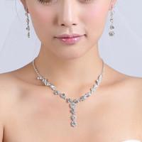 결혼식 신부 들러리 댄스 파티 파티 무료 배송 15049에 대한 설정 저렴한 2020 신부 보석 매력적인 합금 도금 모조 다이아몬드 크리스탈 보석