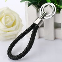 New Popular Leather Strap Weave Rope Double Ring Car Keyring...