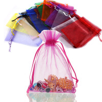 100pcs lot 7*9cm 9*12cm Oganza Bags With Drawstring 20Colors...