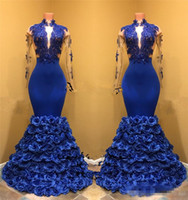 Sexy Royal Blue Mermaid 2K18 Prom Dresses Hand Made Flowers ...