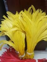 Gratis verzending 100 stks / partij 12-14inch gele pik veer losse haan coque feather losse halloween kostuum veer decor