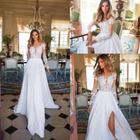 Fantaisie 2018 Une Ligne Robes De Mariée Avec Manches Belle Illusion Top Floral Mousseline de Soie Plage Robe De Mariée Summer country Style robe de mariée