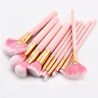 10Pcs / lot Rosa manico di spazzole di trucco fondazione creata Donne compone la spazzola di bellezza insieme di attrezzi per il labbro Eye Liner Shader maquiagem DHL T10083
