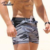 الجملة Taddlee مثير للرجال الحجم ملابس المايوه الرجل زائد الكبير XXL التمويه الأساسية شاطئ سباحة مجلس السراويل الطويلة الملاكم الرجال