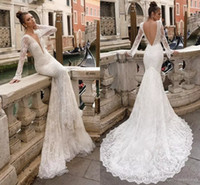 39a3260171d Vintage Berta 2018 pleine dentelle robes de mariée sirène Deep V cou  manches longues Applique Backless
