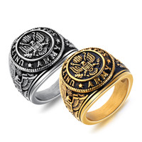 Retro Punk Stainless Steel Men' s Ring Eagle Design Gold...