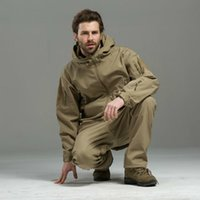 Autumn Winter Men Camo Outdoor Jacket Pants Tactical Softshe...