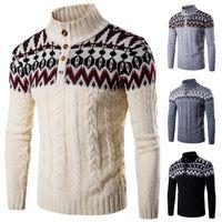 Nova Moda Inverno Camisola Ocasional Camisolas Dos Homens de Caxemira Casaco Grosso Prego Camisola Gola de Impressão Patchwork Homem Outerwear Blusas