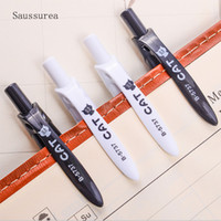 4PCS Cute Black White Cat Penna a sfera Kawaii 0.5mm Blue Stationery Pen per bambini Scuola Scolastica forniture