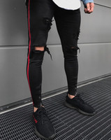 2018 New Arrived Men Side Red Stripe Biker Jeans Denim Ripped Holes Slim Supper Skinny Hip Hop Jeans Men