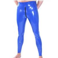 Latex homme en caoutchouc Leggings pantalons pantalons sexy pour les hommes avec entrejambe Latex Fétiche Multi-couleur en option personnalisation à la main