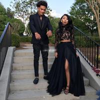 Deux pièces robes de bal noires manches longues une ligne tulle côté fente robes de soirée robes noires fille