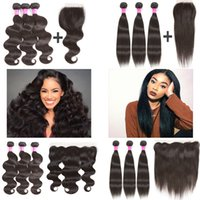 Brazilian Virgin Human Hair Bundles with Lace Frontal and 4x...