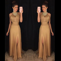 High Neck Long Chiffon Evening Dresses Crystals beaded Floor...