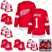 ed02aeac6 Custom 2018 Detroit Red Wings  1 Terry Sawchuk 10 Alex Delvecchio 12 Sid  Abel 7 Ted Lindsay 24 Bob Probert Hockey Jerseys Stitched S-60