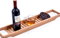 The bathtub bamboo caddy frame tray anti- skid bamboo bathroo...
