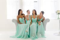 민트 그린 시폰 저렴한 국가 신부 들러리 드레스 다른 스타일 같은 색상 해변 Boho rooves de demoiselles d 'Honneur 주니어 신부 들러리