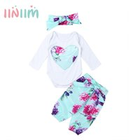 1st Newborns Baby Girls Floral Printed Outfit Long Sleeves R...
