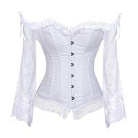 Hauts de mariée corset pour femmes avec manches Style victorien rétro burlesque dentelle Corset et bustiers gilet de mariage mode blanc